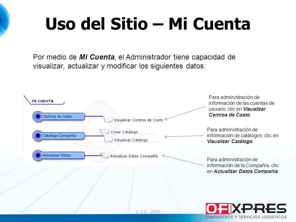Uso del Sitio – Mi Cuenta V. 2.0 - 2010 Para administración de información de las cuentas de usuario, clic en Visualizar Centros de Costo Para adminis