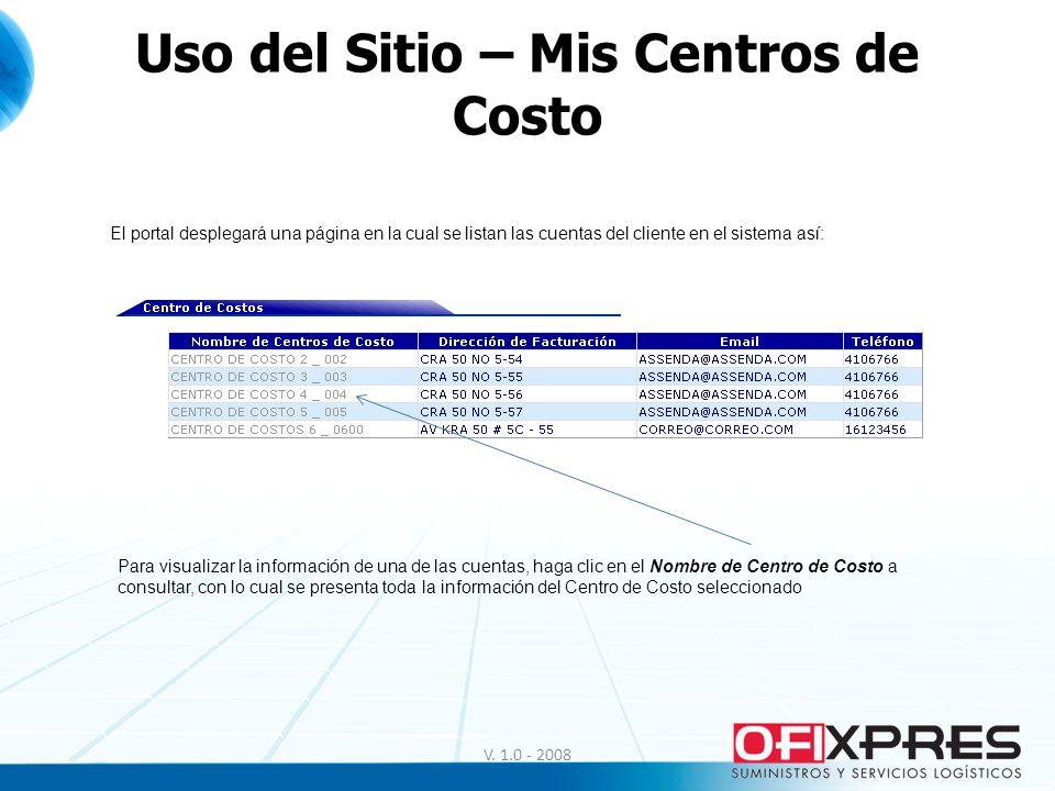 V. 1.0 - 2008 Uso del Sitio – Mis Centros de Costo El portal desplegará una página en la cual se listan las cuentas del cliente en el sistema así: Par