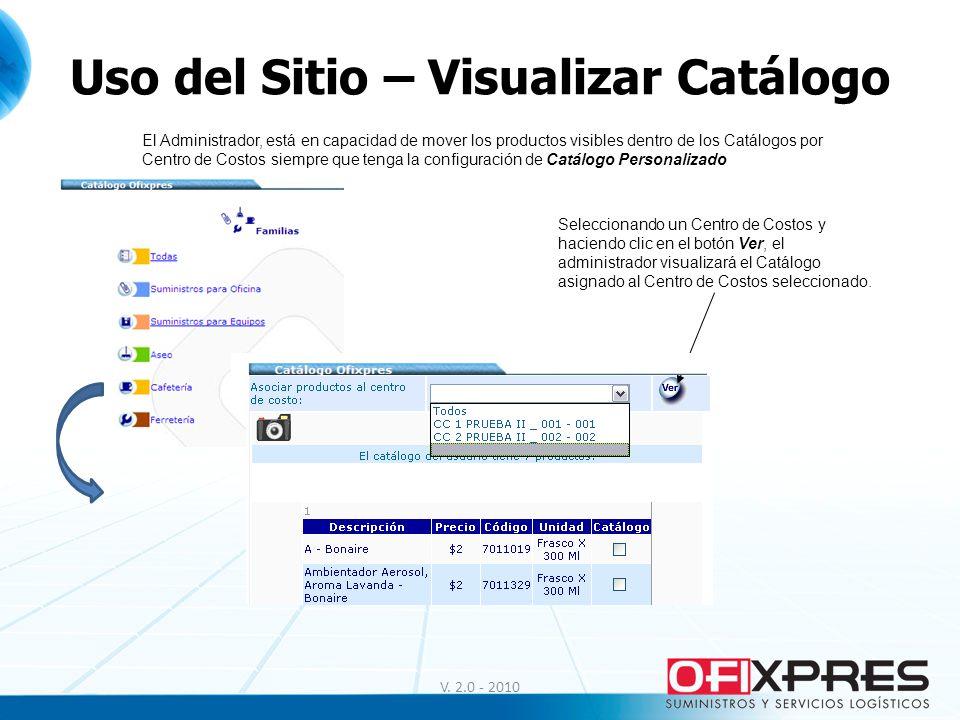 Uso del Sitio – Visualizar Catálogo V. 2.0 - 2010 El Administrador, está en capacidad de mover los productos visibles dentro de los Catálogos por Cent