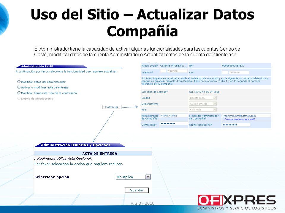 Uso del Sitio – Actualizar Datos Compañía V. 2.0 - 2010 El Administrador tiene la capacidad de activar algunas funcionalidades para las cuentas Centro