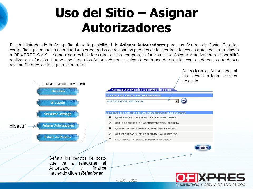 Uso del Sitio – Asignar Autorizadores V. 2.0 - 2010 El administrador de la Compañía, tiene la posibilidad de Asignar Autorizadores para sus Centros de