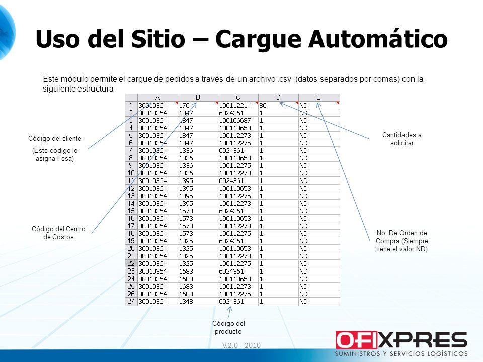 Uso del Sitio – Cargue Automático V.2.0 - 2010 Este módulo permite el cargue de pedidos a través de un archivo.csv (datos separados por comas) con la