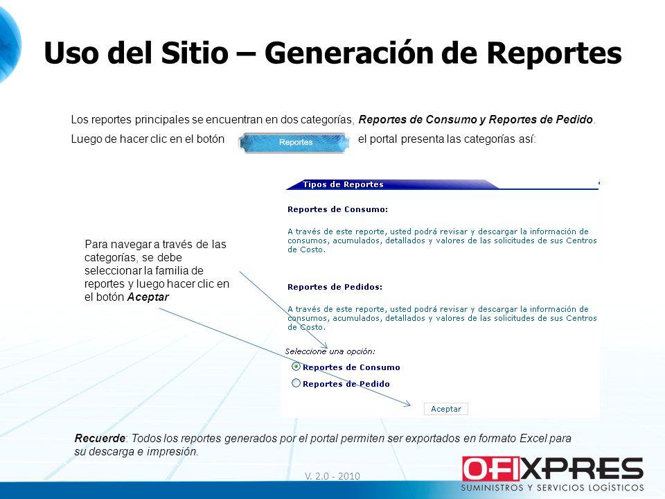 V. 2.0 - 2010 Uso del Sitio – Generación de Reportes Los reportes principales se encuentran en dos categorías, Reportes de Consumo y Reportes de Pedid