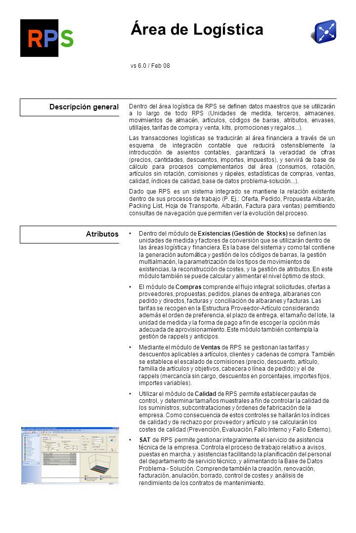 Flujo de información Logística Área Financiera Riesgo cartera de efectos por cliente Formas de pago y cobro Extractos contables por tercero Área Producción Propuestas de Compras desde el MRP II Costes de los artículos Gestión de Proyectos Entradas y Salidas de OFs.