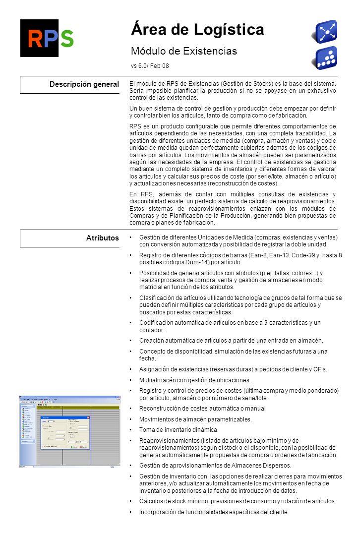 Flujo de información Lectores de códigos de barras Informes de Inventario Generación de Fichero de Movimientos Existencias Compras Movimientos de almacén valorados por recepciones y devoluciones de mercancía.