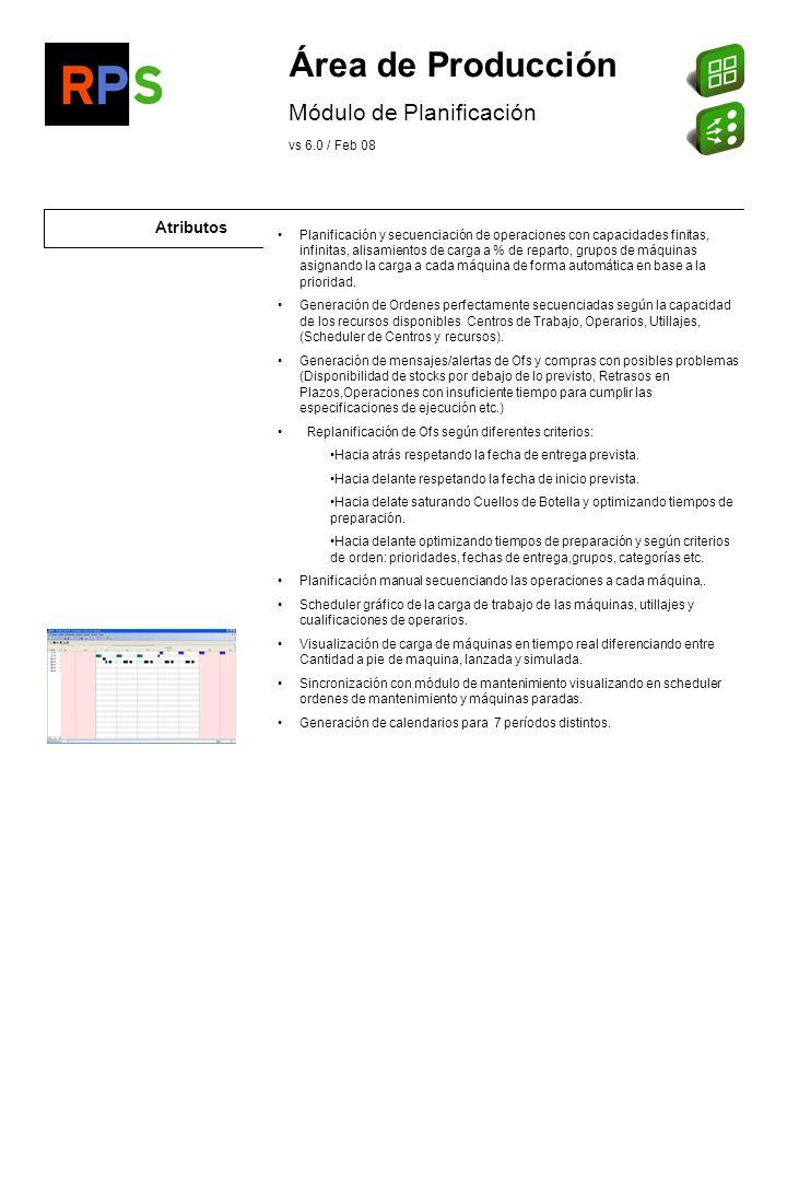 Flujo de información Programas de Planificación de Proyectos (Ms Project..)l Diagramas de Gantt y Pert de Ms Project Listado de carga Consulta de carga de máquinas Consulta y listado de Scheduler Listado de MRP lanzado Listado de Disponibilidad Consulta de propuestas de compra y fabricación por escenarios Planificación Modelador / Configurador PMS automático desde configurador Órdenes de Fabricación Reservas de Producto final, Pedidos de componentes Estructuras Estructuras de artículos indicando los niveles a estudiar Capacidades de CT, Utillajes y Operarios Área Logística Artículos: -Tipos de artículos a estudiar: Compras,Fabricación, Ficticios/Fantasmas, Sin Ctrol de Existencias, Otros.