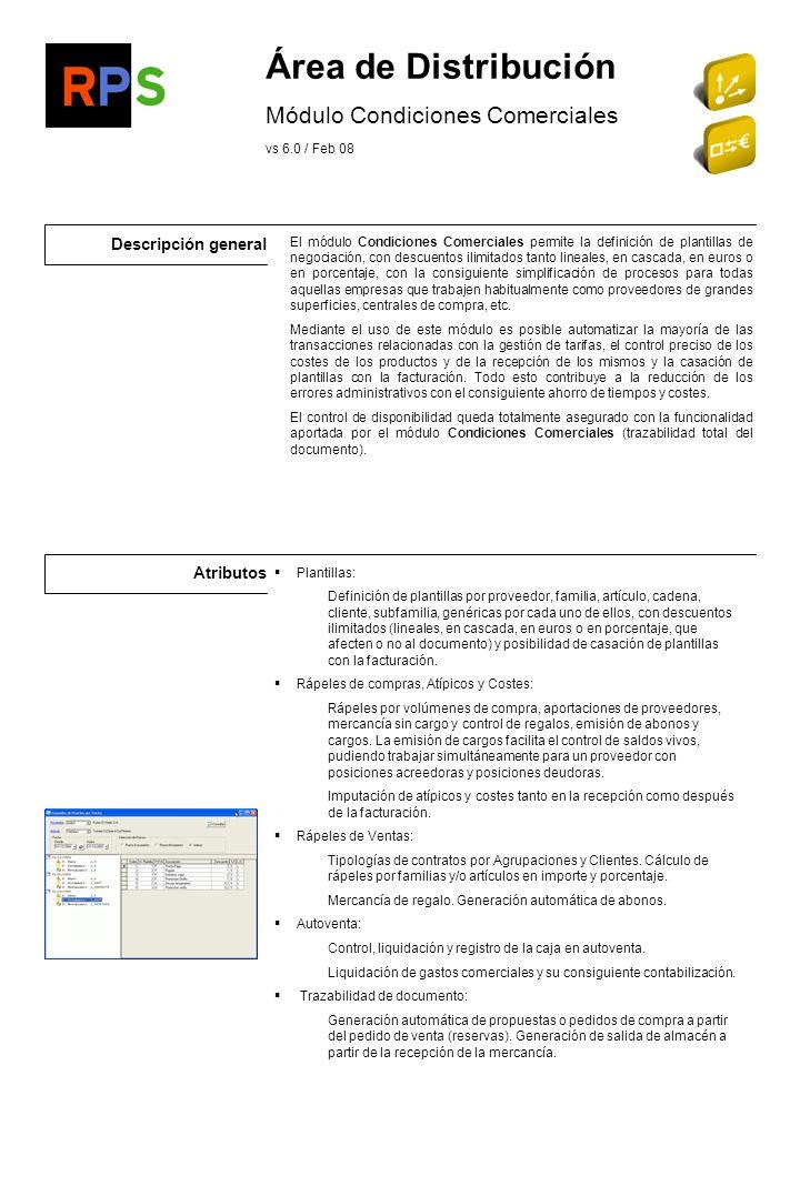 Descripción general Atributos Área de Distribución Módulo de Almacén Avanzado vs 6.0 / Feb 08 Gestión de envases Diferentes tipos de envases.