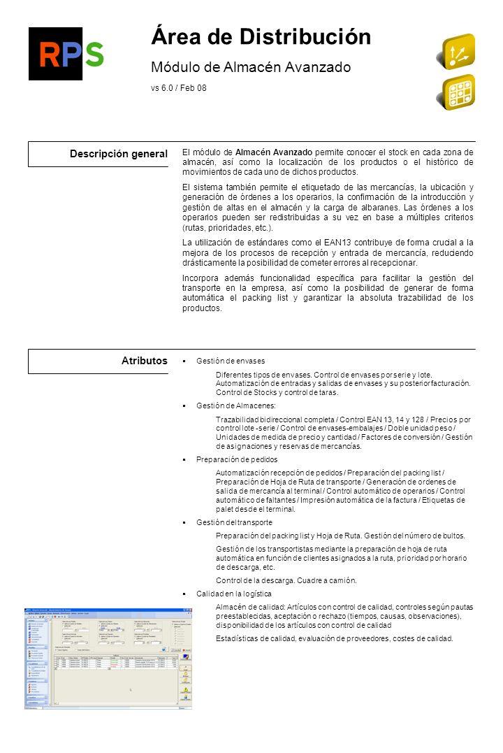Descripción general Atributos Módulo propio en el ERP.