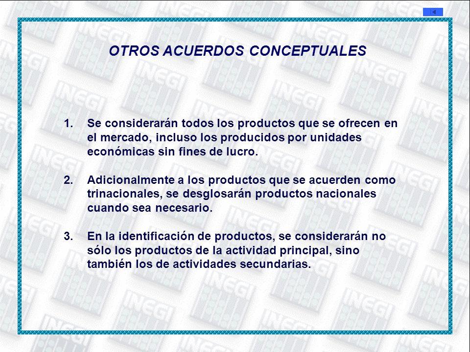 OTROS ACUERDOS CONCEPTUALES 1.Se considerarán todos los productos que se ofrecen en el mercado, incluso los producidos por unidades económicas sin fin
