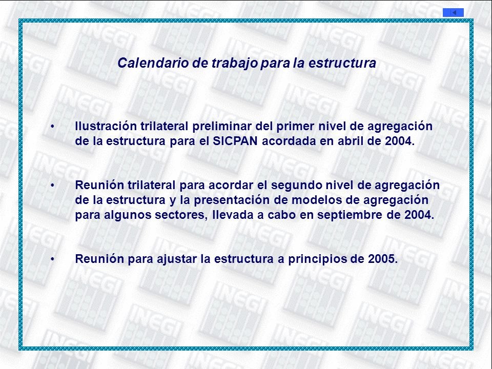 Calendario de trabajo para la estructura Ilustración trilateral preliminar del primer nivel de agregación de la estructura para el SICPAN acordada en