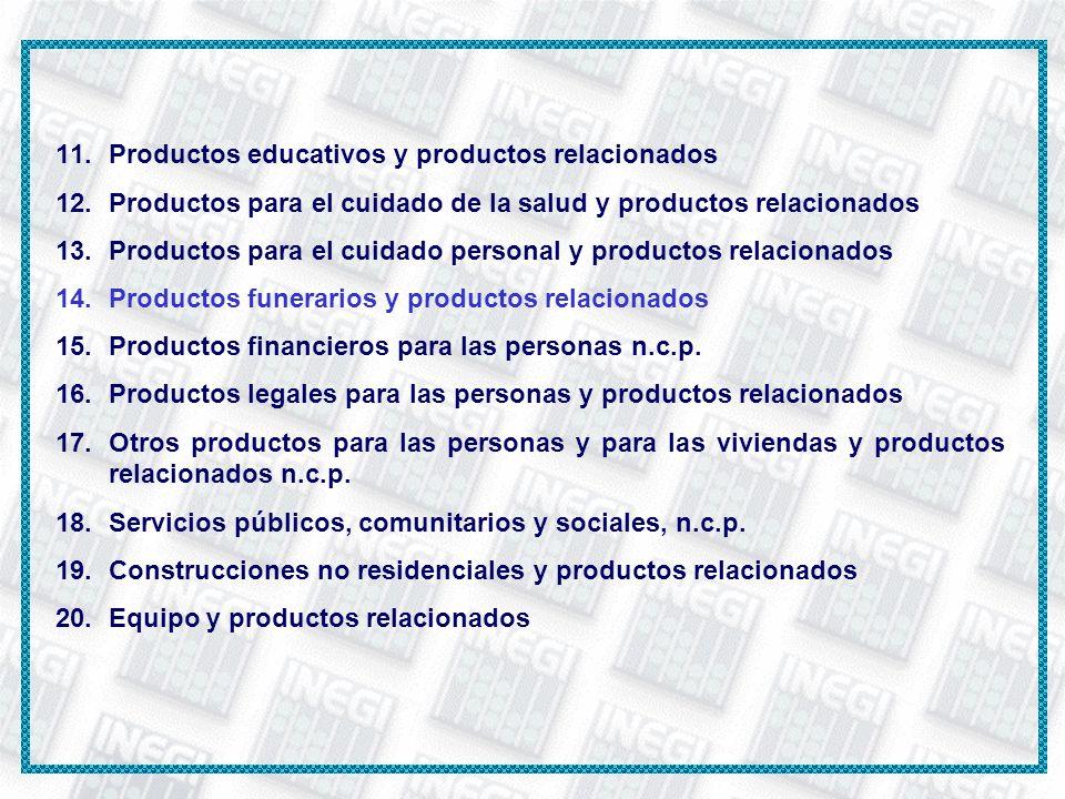 11.Productos educativos y productos relacionados 12.Productos para el cuidado de la salud y productos relacionados 13.Productos para el cuidado person