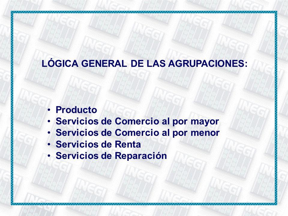 LÓGICA GENERAL DE LAS AGRUPACIONES: Producto Servicios de Comercio al por mayor Servicios de Comercio al por menor Servicios de Renta Servicios de Rep