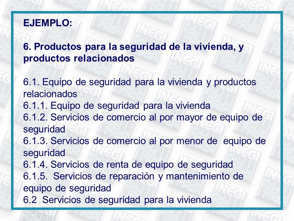 EJEMPLO: 6. Productos para la seguridad de la vivienda, y productos relacionados 6.1. Equipo de seguridad para la vivienda y productos relacionados 6.