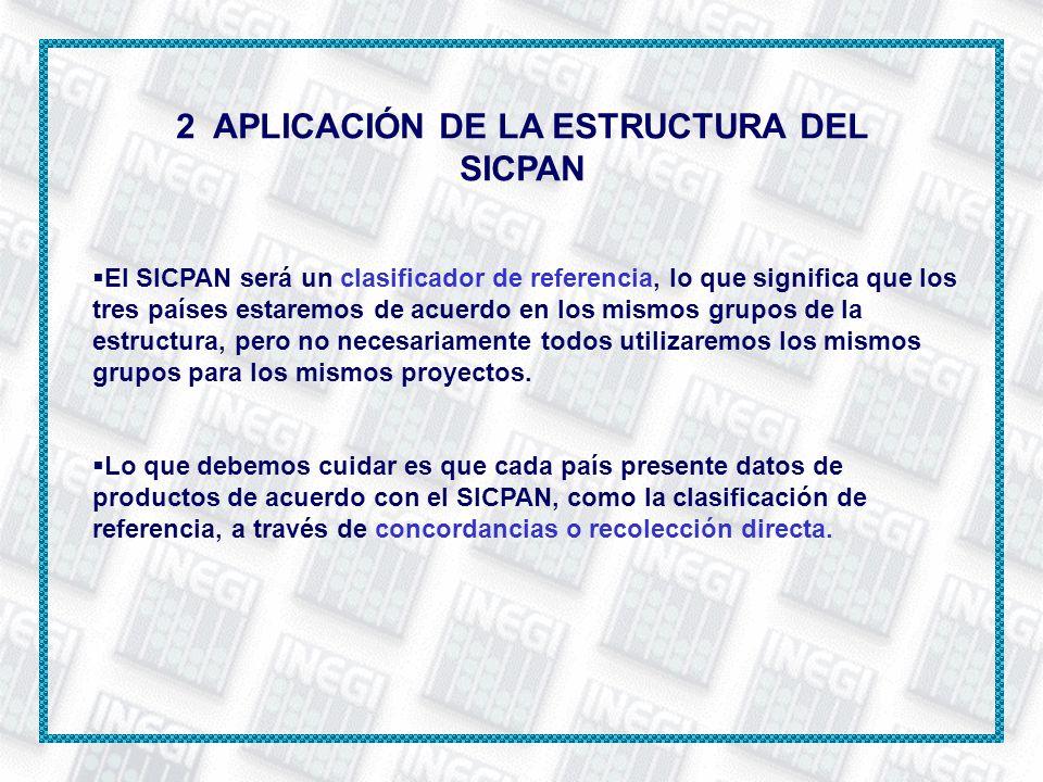 2 APLICACIÓN DE LA ESTRUCTURA DEL SICPAN El SICPAN será un clasificador de referencia, lo que significa que los tres países estaremos de acuerdo en lo