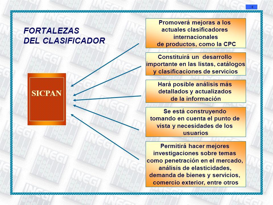 FORTALEZAS DEL CLASIFICADOR Promoverá mejoras a los actuales clasificadores internacionales de productos, como la CPC Constituirá un desarrollo import