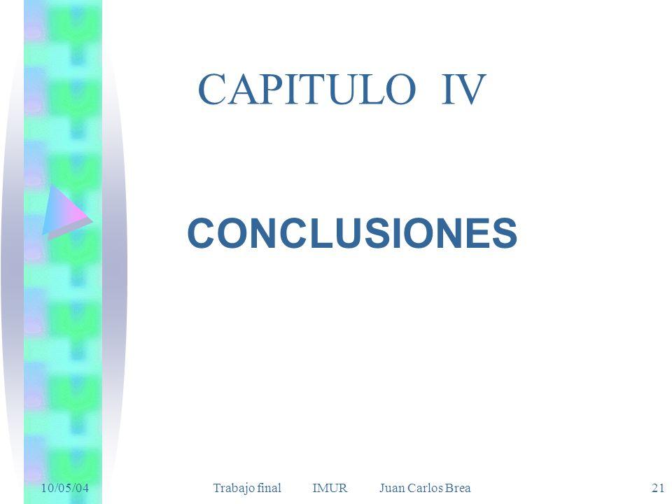 10/05/04 Trabajo final IMUR Juan Carlos Brea21 CAPITULO IV CONCLUSIONES