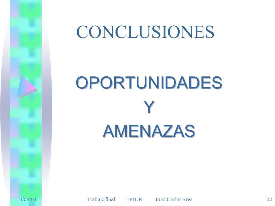 10/05/04 Trabajo final IMUR Juan Carlos Brea22 CONCLUSIONES OPORTUNIDADES Y AMENAZAS OPORTUNIDADES Y AMENAZAS