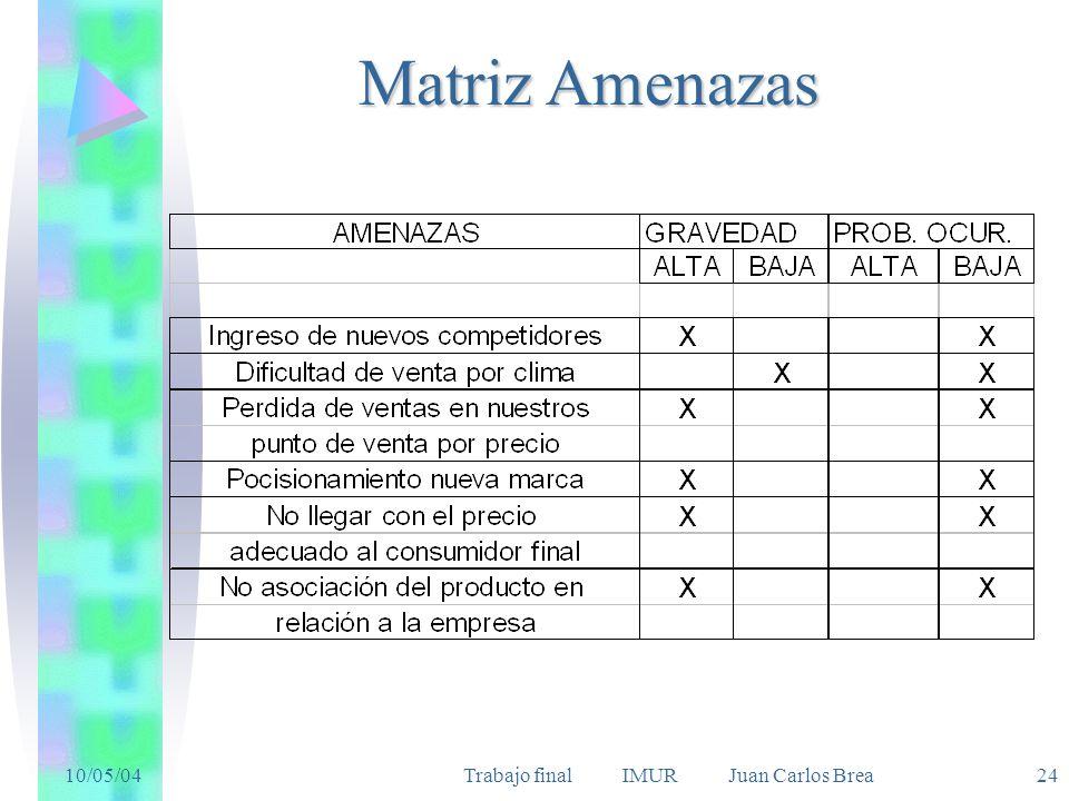 10/05/04Trabajo final IMUR Juan Carlos Brea 24 Matriz Amenazas
