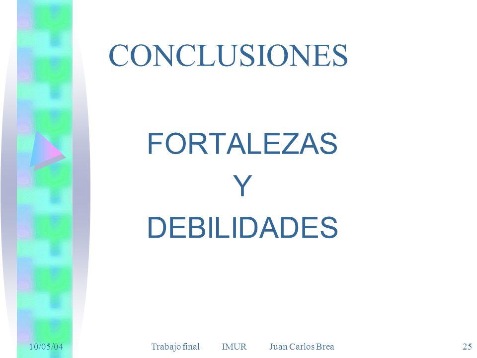 10/05/04 Trabajo final IMUR Juan Carlos Brea25 CONCLUSIONES FORTALEZAS Y DEBILIDADES