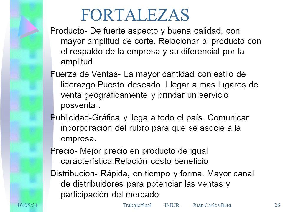 10/05/04Trabajo final IMUR Juan Carlos Brea 26 FORTALEZAS Producto- De fuerte aspecto y buena calidad, con mayor amplitud de corte. Relacionar al prod