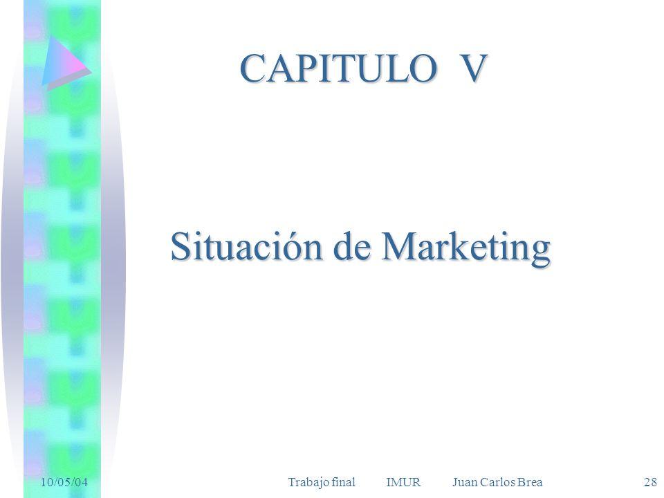 10/05/04Trabajo final IMUR Juan Carlos Brea 28 Situación de Marketing CAPITULO V