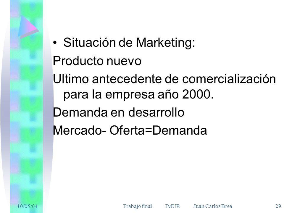 10/05/04Trabajo final IMUR Juan Carlos Brea 29 Situación de Marketing: Producto nuevo Ultimo antecedente de comercialización para la empresa año 2000.
