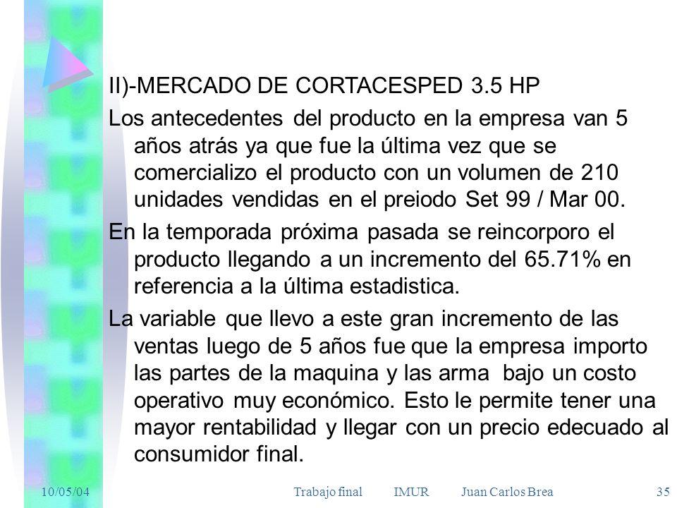 10/05/04Trabajo final IMUR Juan Carlos Brea 35 II)-MERCADO DE CORTACESPED 3.5 HP Los antecedentes del producto en la empresa van 5 años atrás ya que fue la última vez que se comercializo el producto con un volumen de 210 unidades vendidas en el preiodo Set 99 / Mar 00.