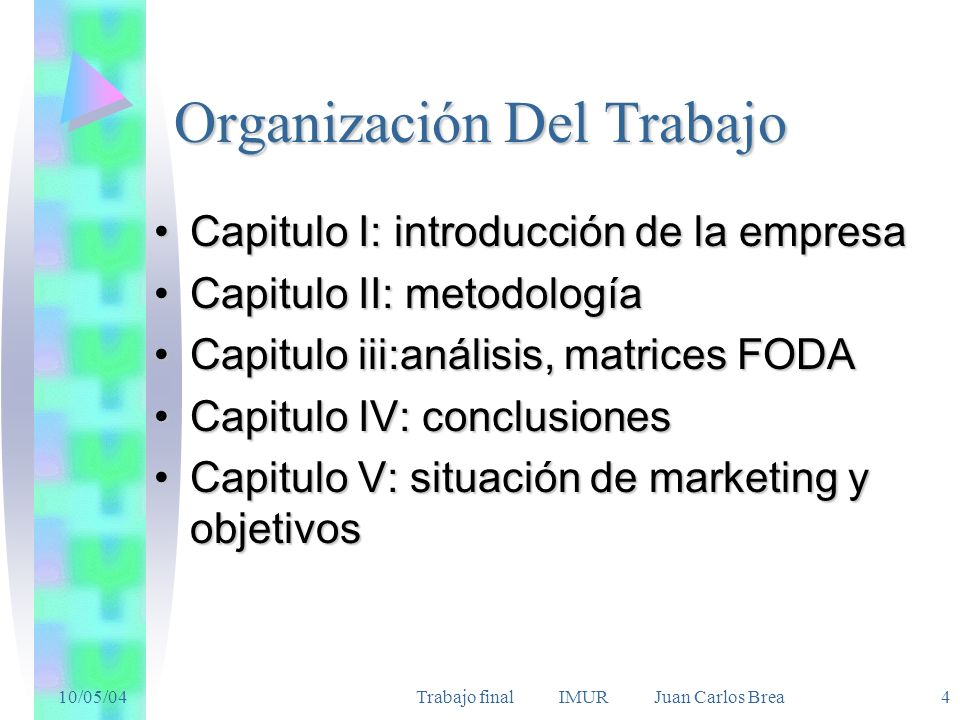 10/05/04Trabajo final IMUR Juan Carlos Brea 4 Organización Del Trabajo Capitulo I: introducción de la empresaCapitulo I: introducción de la empresa Ca
