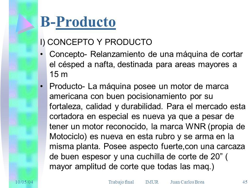 10/05/04Trabajo final IMUR Juan Carlos Brea 45 B-Producto I) CONCEPTO Y PRODUCTO Concepto- Relanzamiento de una máquina de cortar el césped a nafta, d