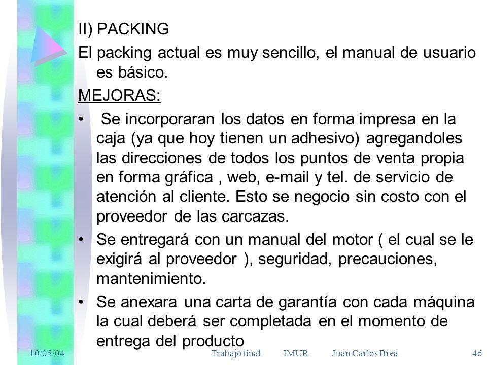 10/05/04Trabajo final IMUR Juan Carlos Brea 46 II) PACKING El packing actual es muy sencillo, el manual de usuario es básico. MEJORAS: Se incorporaran