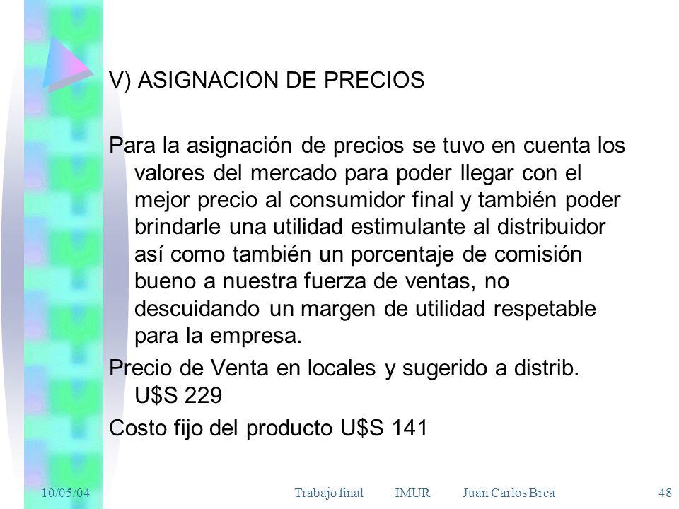10/05/04Trabajo final IMUR Juan Carlos Brea 48 V) ASIGNACION DE PRECIOS Para la asignación de precios se tuvo en cuenta los valores del mercado para p