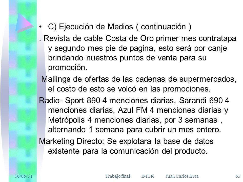 10/05/04Trabajo final IMUR Juan Carlos Brea 63 C) Ejecución de Medios ( continuación ). Revista de cable Costa de Oro primer mes contratapa y segundo