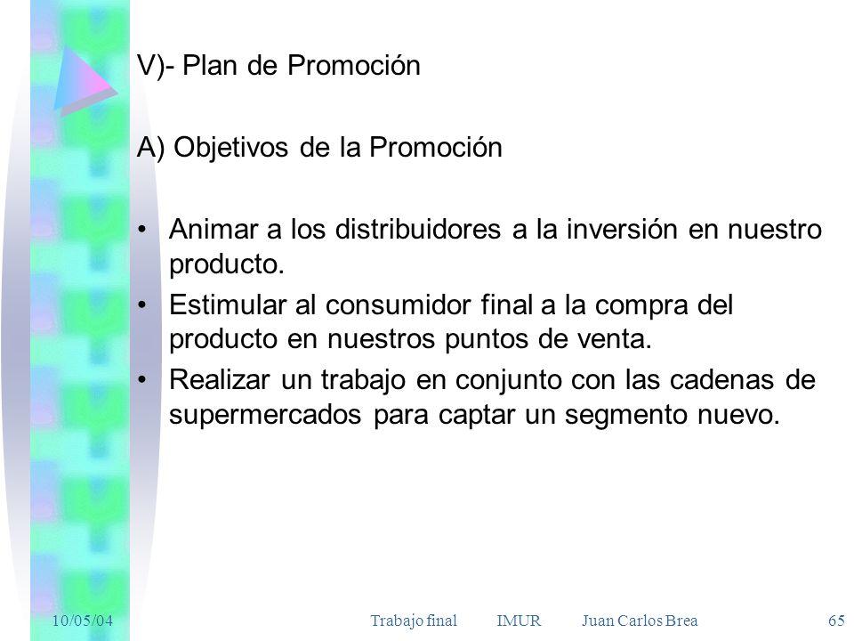 10/05/04Trabajo final IMUR Juan Carlos Brea 65 V)- Plan de Promoción A) Objetivos de la Promoción Animar a los distribuidores a la inversión en nuestro producto.