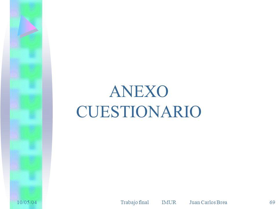 10/05/04Trabajo final IMUR Juan Carlos Brea 69 ANEXO CUESTIONARIO