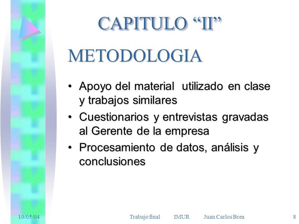 10/05/04Trabajo final IMUR Juan Carlos Brea 8 METODOLOGIA Apoyo del material utilizado en clase y trabajos similaresApoyo del material utilizado en cl