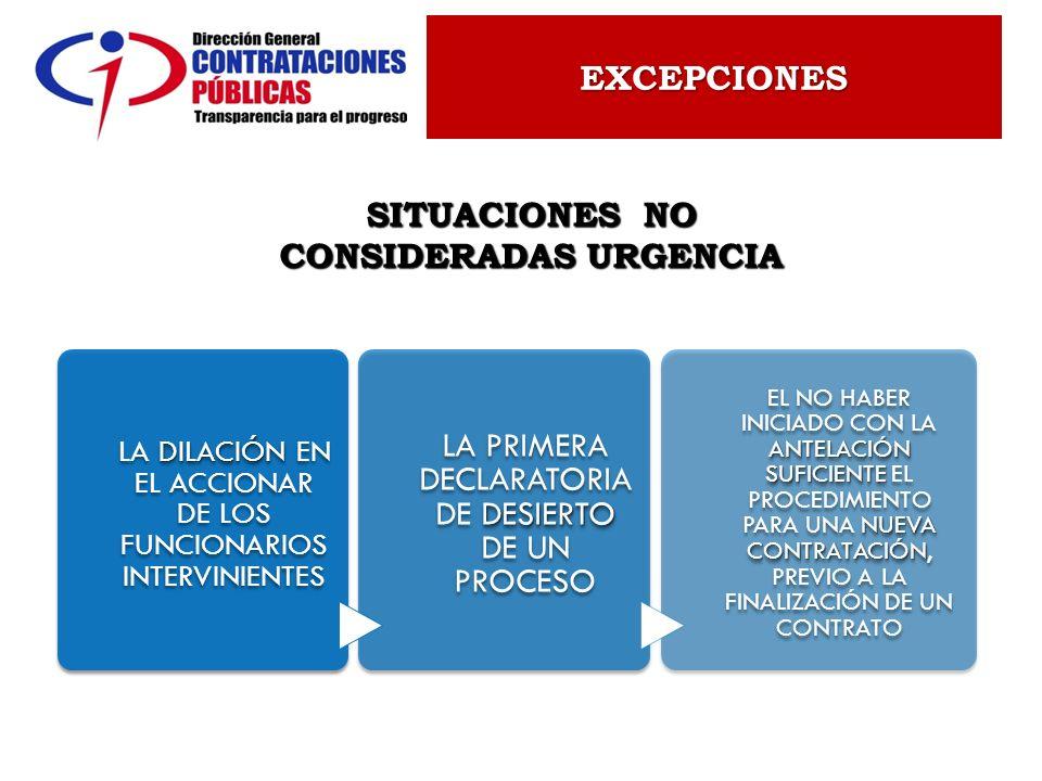 SITUACIONES NO CONSIDERADAS URGENCIA EXCEPCIONES DILACIÓN LA DILACIÓN EN EL ACCIONAR DE LOS FUNCIONARIOS INTERVINIENTES DESIERTO LA PRIMERA DECLARATOR