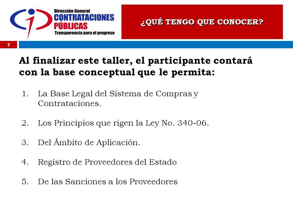 ¿QUÉ TENGO QUE CONOCER? 2 Al finalizar este taller, el participante contará con la base conceptual que le permita: 1.La Base Legal del Sistema de Comp