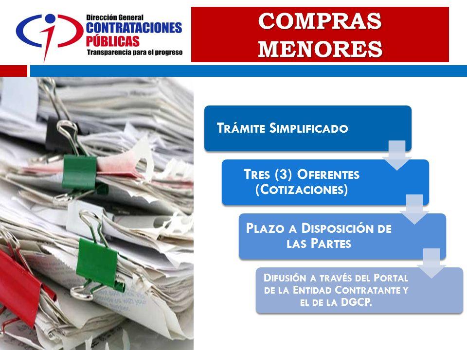 COMPRAS MENORES T RÁMITE S IMPLIFICADO T RES (3) O FERENTES (C OTIZACIONES ) P LAZO A D ISPOSICIÓN DE LAS P ARTES D IFUSIÓN A TRAVÉS DEL P ORTAL DE LA