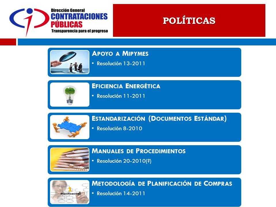 POLÍTICAS A POYO A M IPYMES Resolución 13-2011 E FICIENCIA E NERGÉTICA Resolución 11-2011 E STANDARIZACIÓN (D OCUMENTOS E STÁNDAR ) Resolución 8-2010