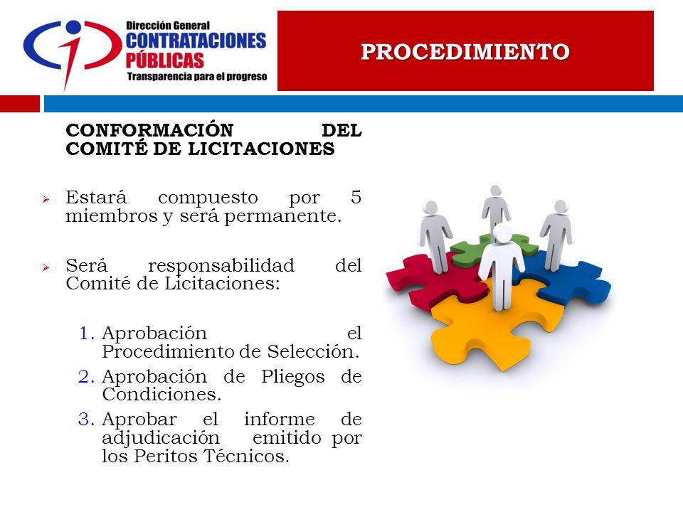 CONFORMACIÓN DEL COMITÉ DE LICITACIONES Estará compuesto por 5 miembros y será permanente. Será responsabilidad del Comité de Licitaciones: 1.Aprobaci
