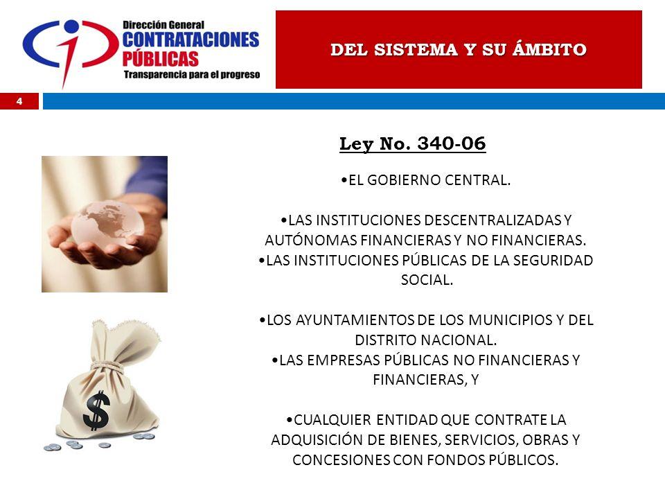 DEL SISTEMA Y SU ÁMBITO Ley No. 340-06 4 EL GOBIERNO CENTRAL. LAS INSTITUCIONES DESCENTRALIZADAS Y AUTÓNOMAS FINANCIERAS Y NO FINANCIERAS. LAS INSTITU