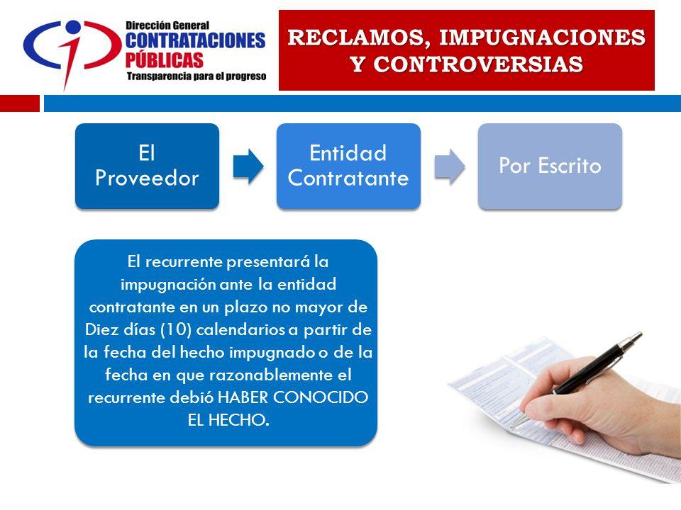 RECLAMOS, IMPUGNACIONES Y CONTROVERSIAS El Proveedor Entidad Contratante Por Escrito El recurrente presentará la impugnación ante la entidad contratan