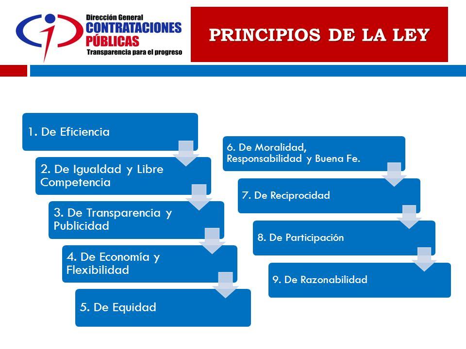 PRINCIPIOS DE LA LEY 1. De Eficiencia 2. De Igualdad y Libre Competencia 3. De Transparencia y Publicidad 4. De Economía y Flexibilidad 5. De Equidad