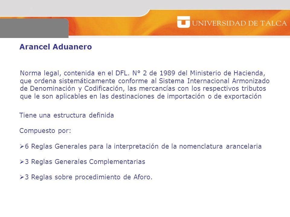 Arancel Aduanero Norma legal, contenida en el DFL. N° 2 de 1989 del Ministerio de Hacienda, que ordena sistemáticamente conforme al Sistema Internacio