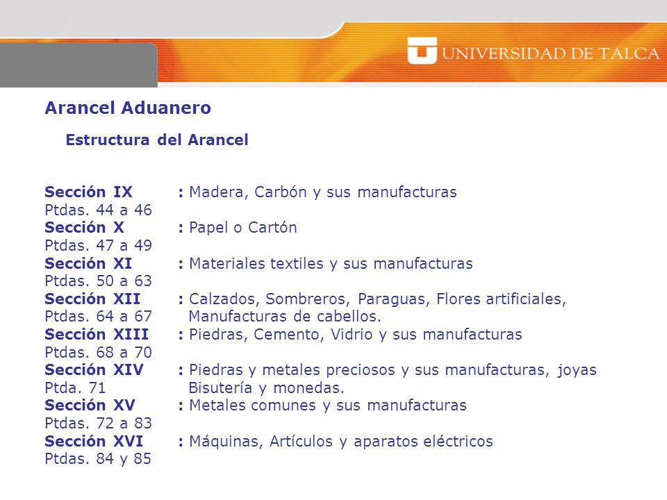 Arancel Aduanero Estructura del Arancel Sección IX : Madera, Carbón y sus manufacturas Ptdas. 44 a 46 Sección X: Papel o Cartón Ptdas. 47 a 49 Sección