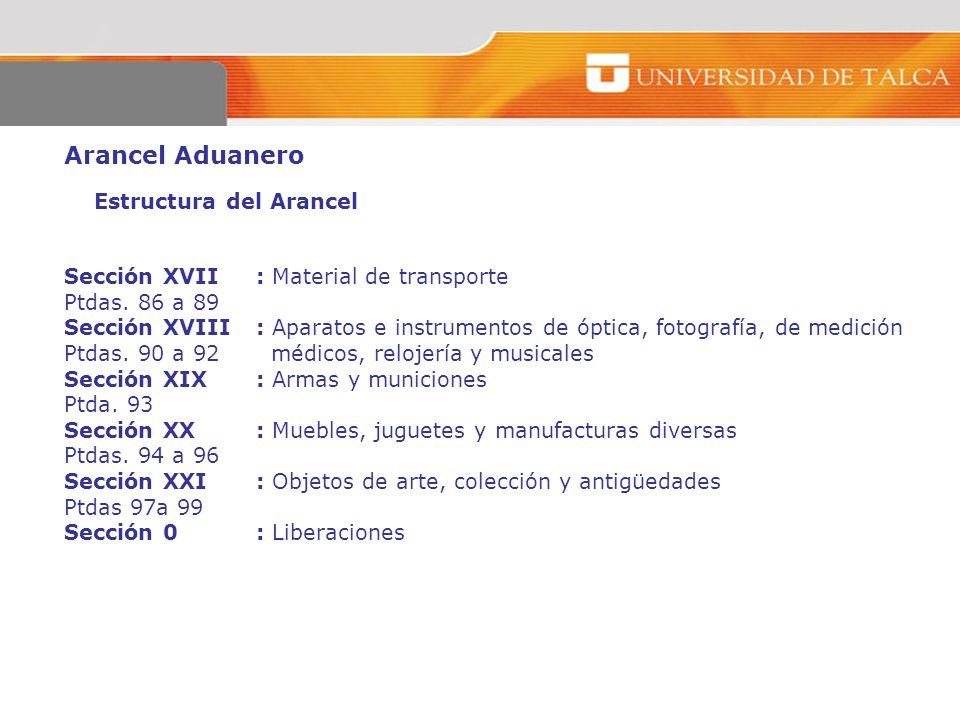 Arancel Aduanero Estructura del Arancel Sección XVII : Material de transporte Ptdas. 86 a 89 Sección XVIII: Aparatos e instrumentos de óptica, fotogra