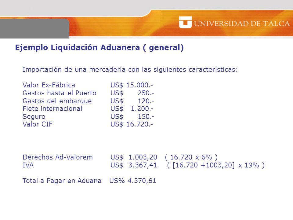 Ejemplo Liquidación Aduanera ( general) Importación de una mercadería con las siguientes características: Valor Ex-FábricaUS$ 15.000.- Gastos hasta el