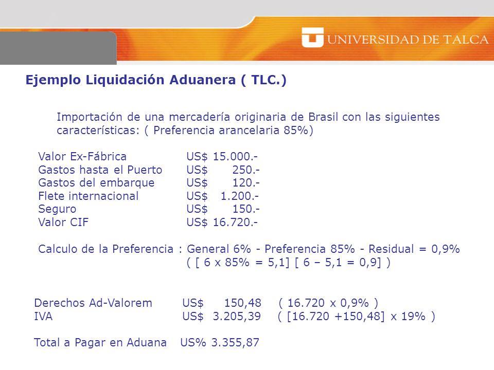 Ejemplo Liquidación Aduanera ( TLC.) Importación de una mercadería originaria de Brasil con las siguientes características: ( Preferencia arancelaria