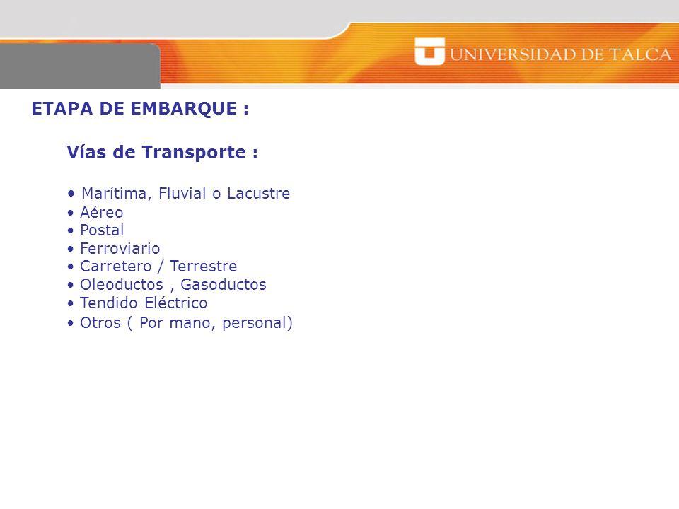 ETAPA DE EMBARQUE : Vías de Transporte : Marítima, Fluvial o Lacustre Aéreo Postal Ferroviario Carretero / Terrestre Oleoductos, Gasoductos Tendido El