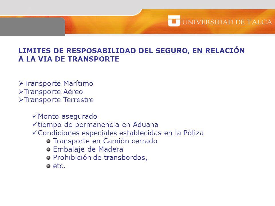 LIMITES DE RESPOSABILIDAD DEL SEGURO, EN RELACIÓN A LA VIA DE TRANSPORTE Transporte Marítimo Transporte Aéreo Transporte Terrestre Monto asegurado tie